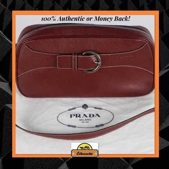 c71788061d75 Prada Bags   Shoulder Bag Burgundy Leather Handbag Clutch   Poshmark